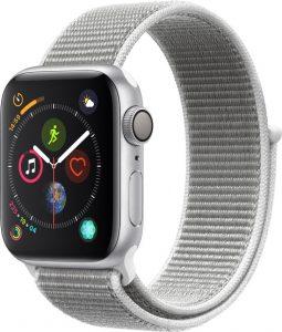 Watch Series 4 Aluminum (40mm), Silver, Seashell Sport Loop