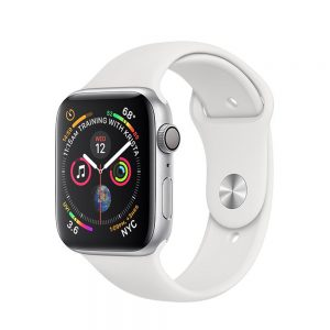 Watch Series 4 Steel Cellular (44mm), Silver, White Sport Band