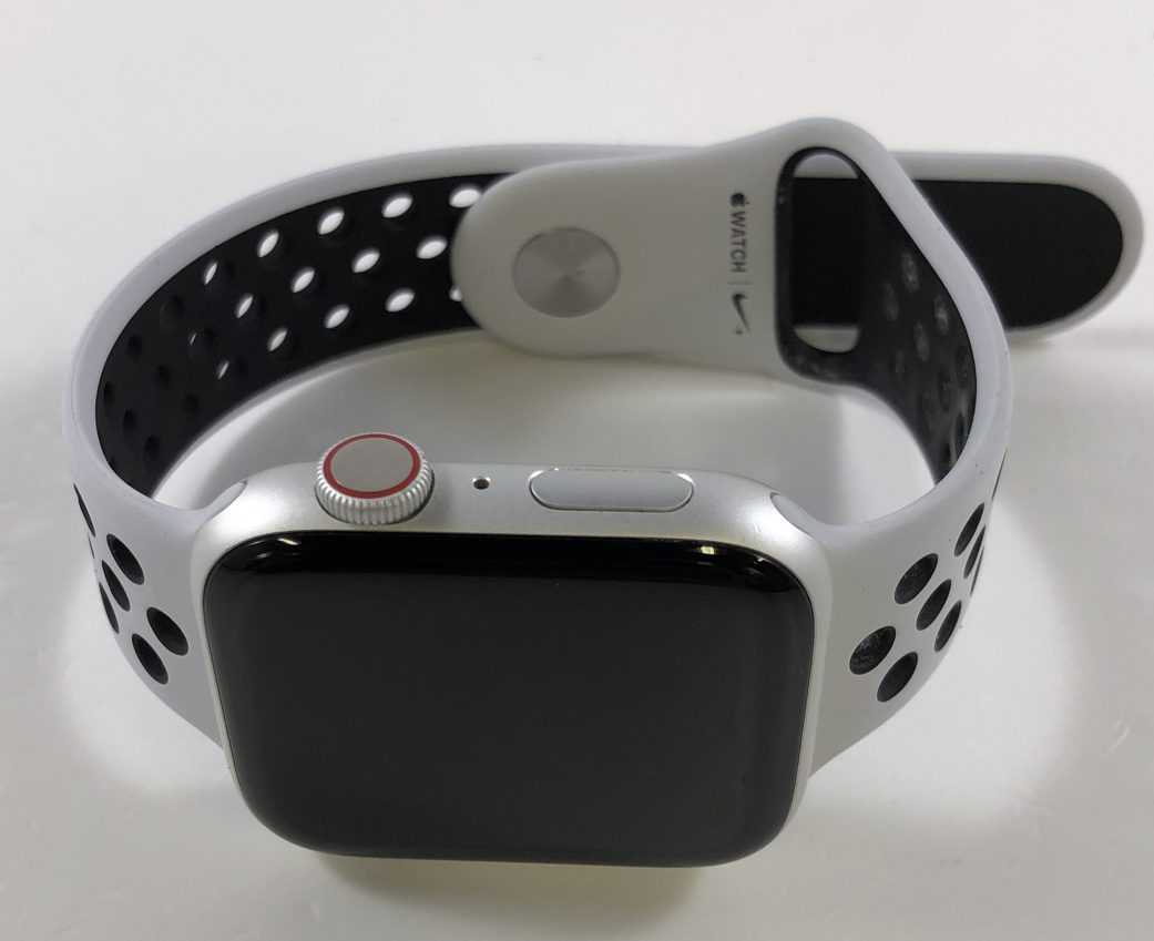 Watch Series 4 Aluminum Cellular (44mm), Silver, Pure Platinum/Black Nike Sport Band, image 1