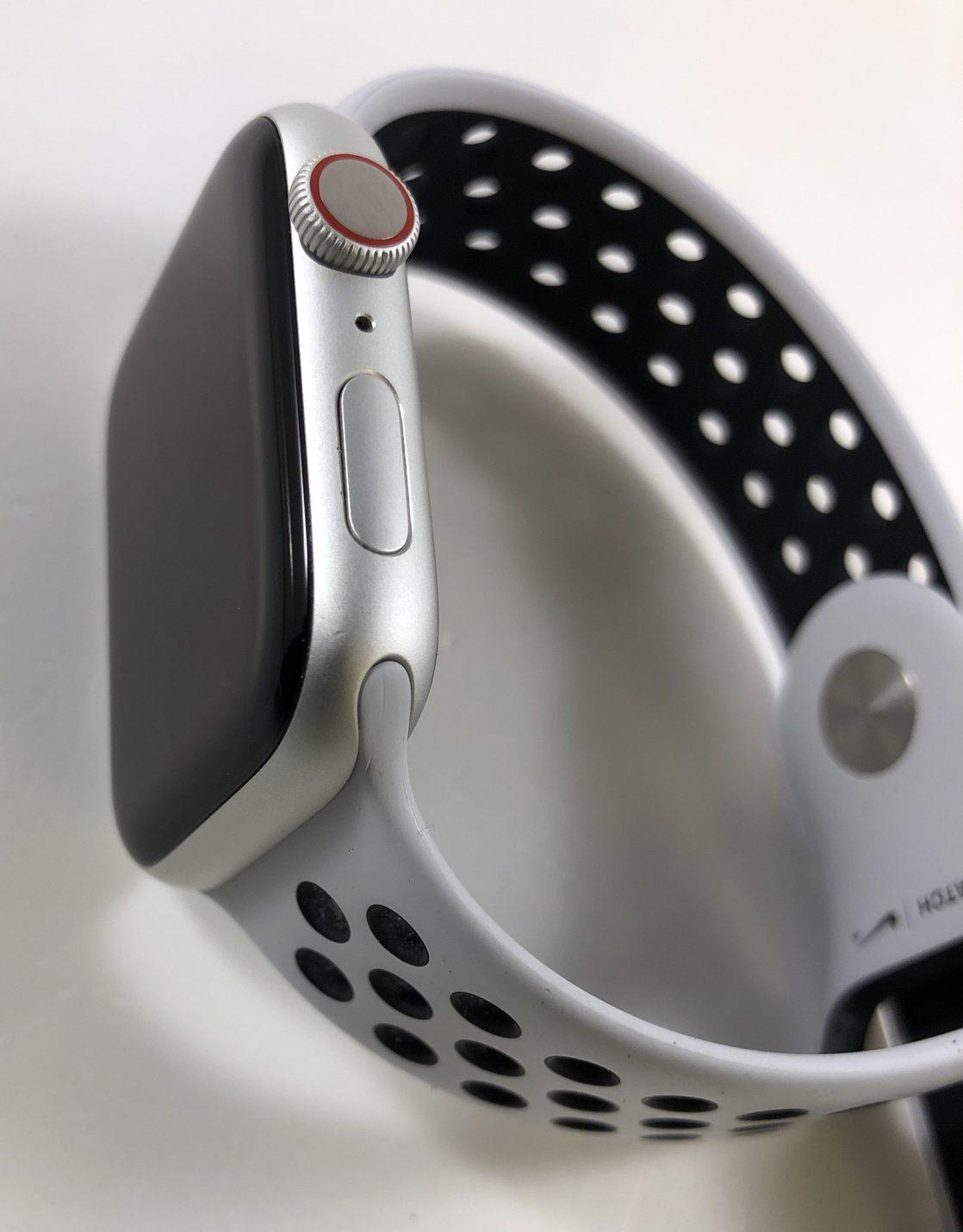 Watch Series 4 Aluminum Cellular (44mm), Silver, Pure Platinum/Black Nike Sport Band, image 3
